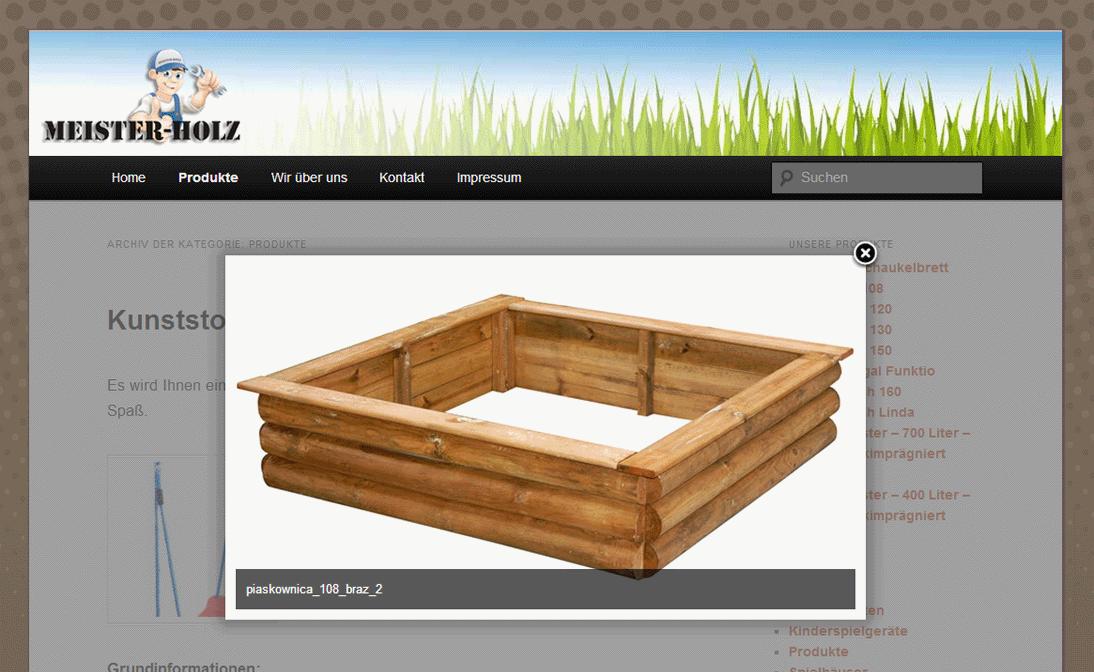 Meisterholz mit einfachem Layout in WordPress - Meister-Holz ohne Domain