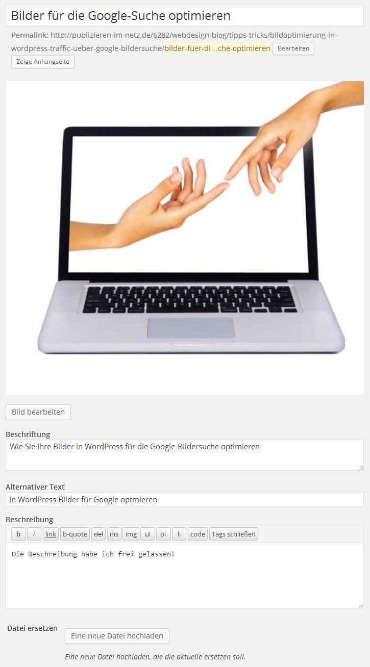 Screenshot des verwendeten Bildes