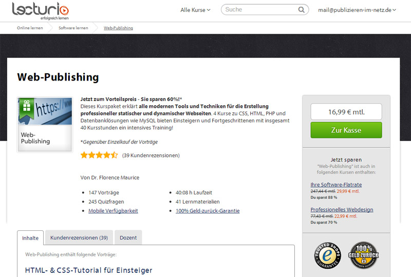 Lecturio Web-Publishing-Kurs online