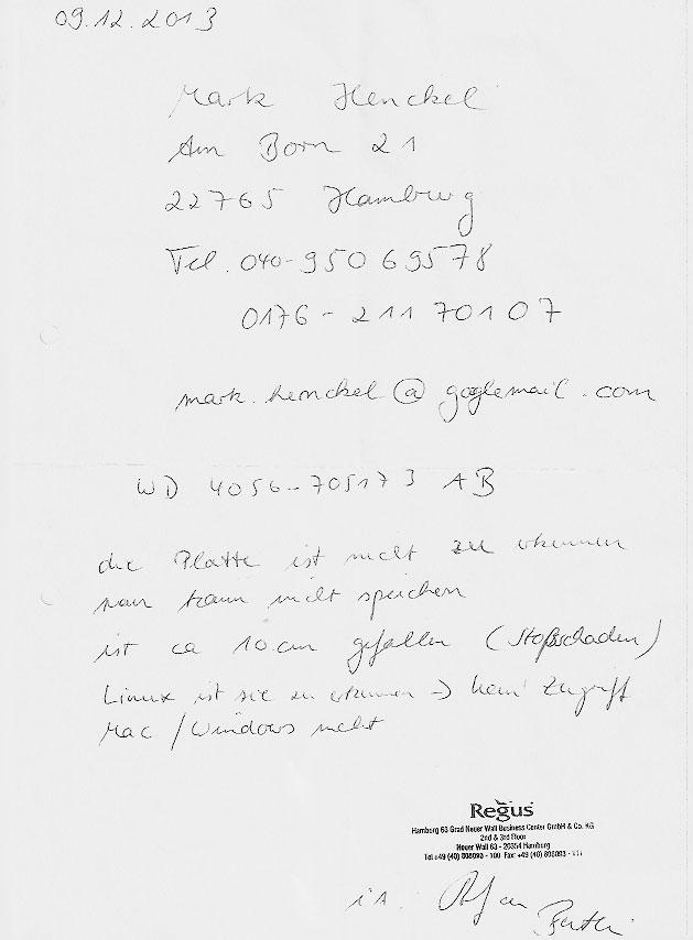 Dokument: Festplatte bei Regus Business Center Hamburg abgegeben