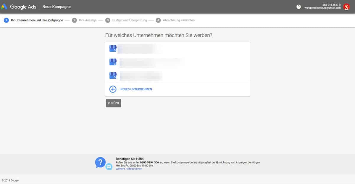 Google AdWords Kritik: Anmelde-Fenster Google AdWords/Ads